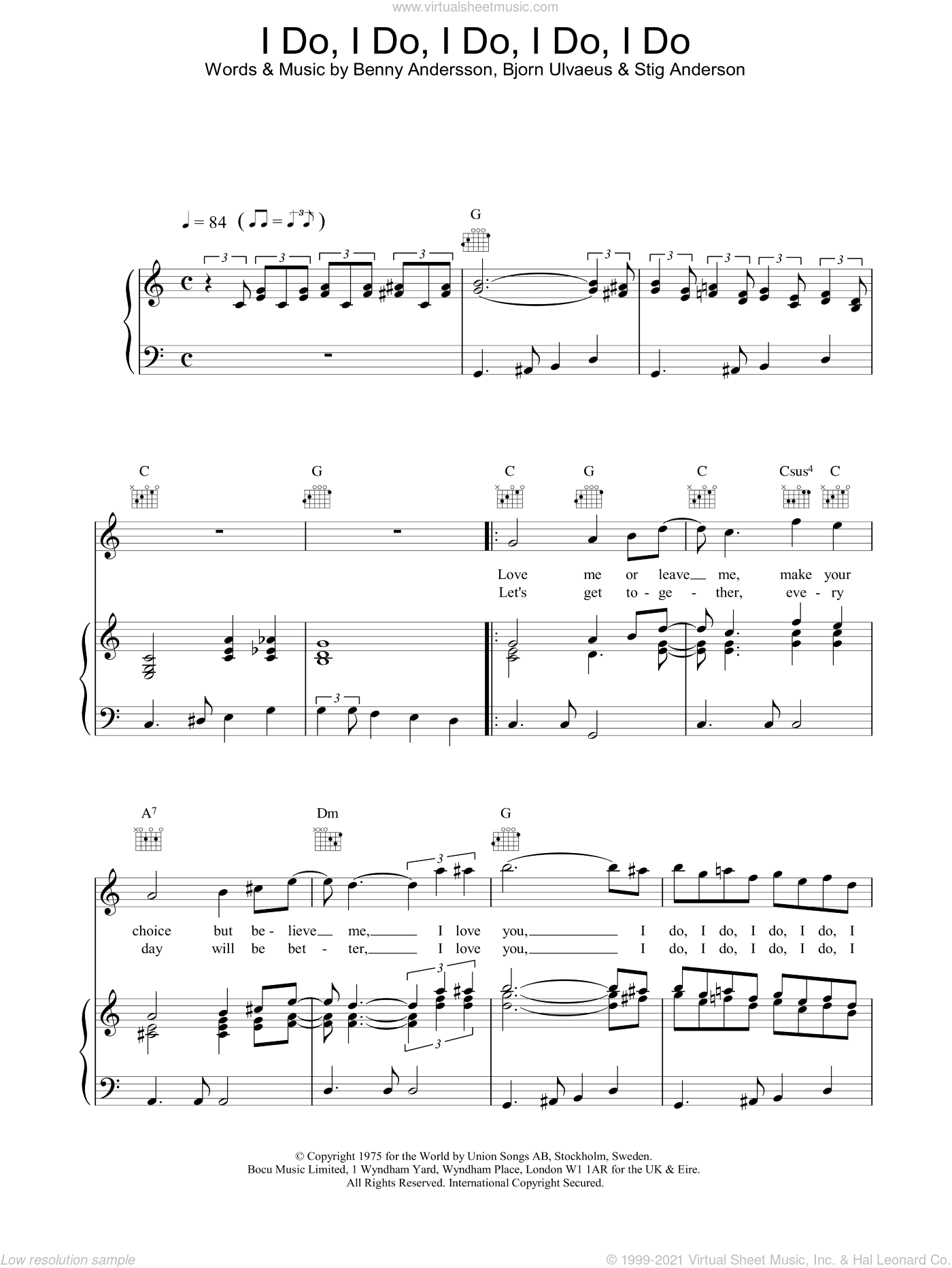 I Do, I Do, I Do, I Do, I Do sheet music for voice, piano or guitar by Stig Anderson, ABBA, Benny Andersson and Bjorn Ulvaeus. Score Image Preview.