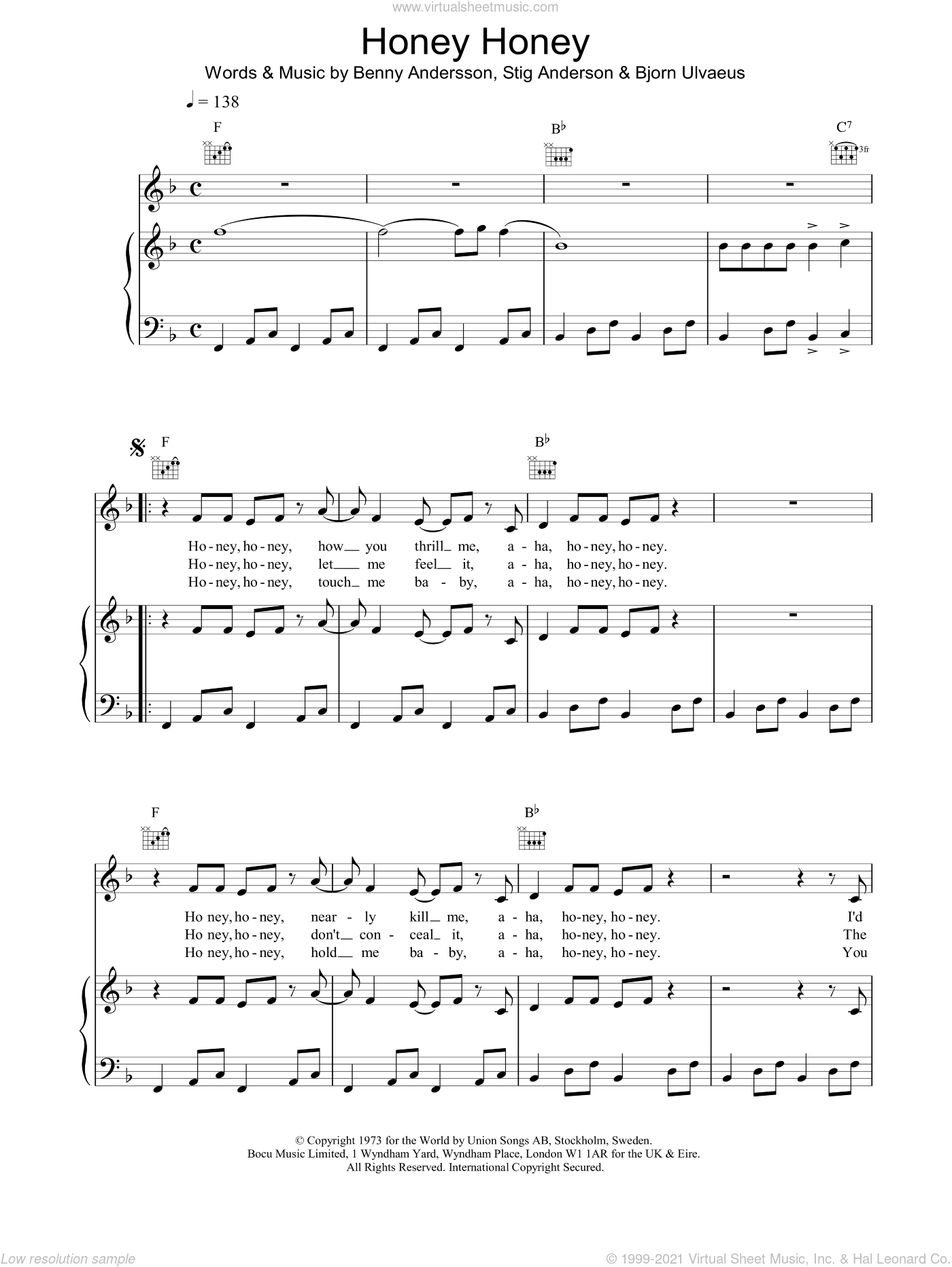 Honey, Honey sheet music for voice, piano or guitar by ABBA