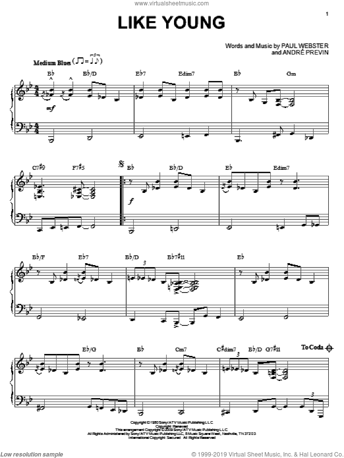 Like Young sheet music for piano solo by Paul Francis Webster