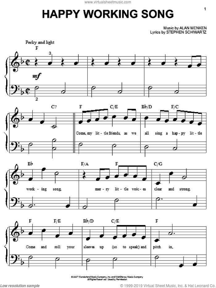 Happy Working Song sheet music for piano solo (big note book) by Alan Menken and Stephen Schwartz. Score Image Preview.