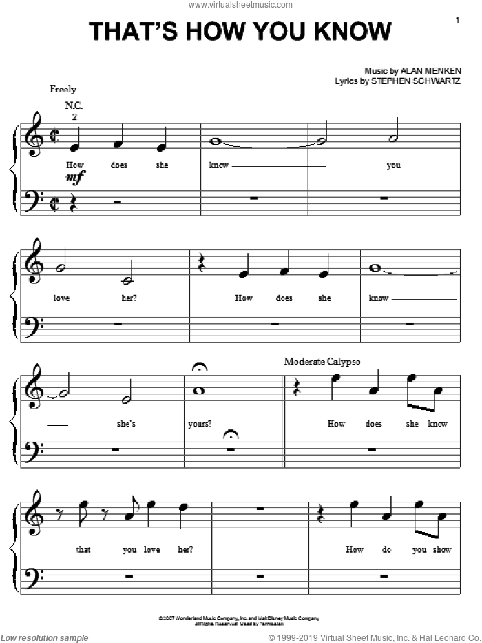 That's How You Know sheet music for piano solo (big note book) by Amy Adams, Alan Menken and Stephen Schwartz, easy piano (big note book). Score Image Preview.