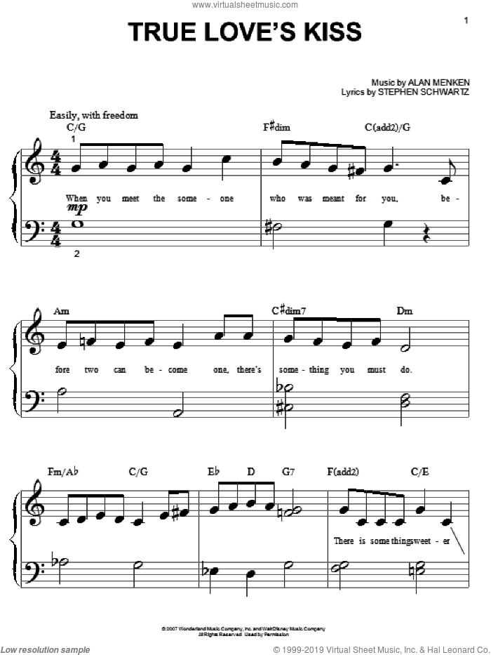 True Love's Kiss sheet music for piano solo (big note book) by Amy Adams, Enchanted (Movie), Alan Menken and Stephen Schwartz, easy piano (big note book)