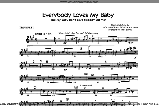 Everybody Loves My Baby (But My Baby Don't Love Nobody But Me) (COMPLETE) sheet music for orchestra by Jack Palmer