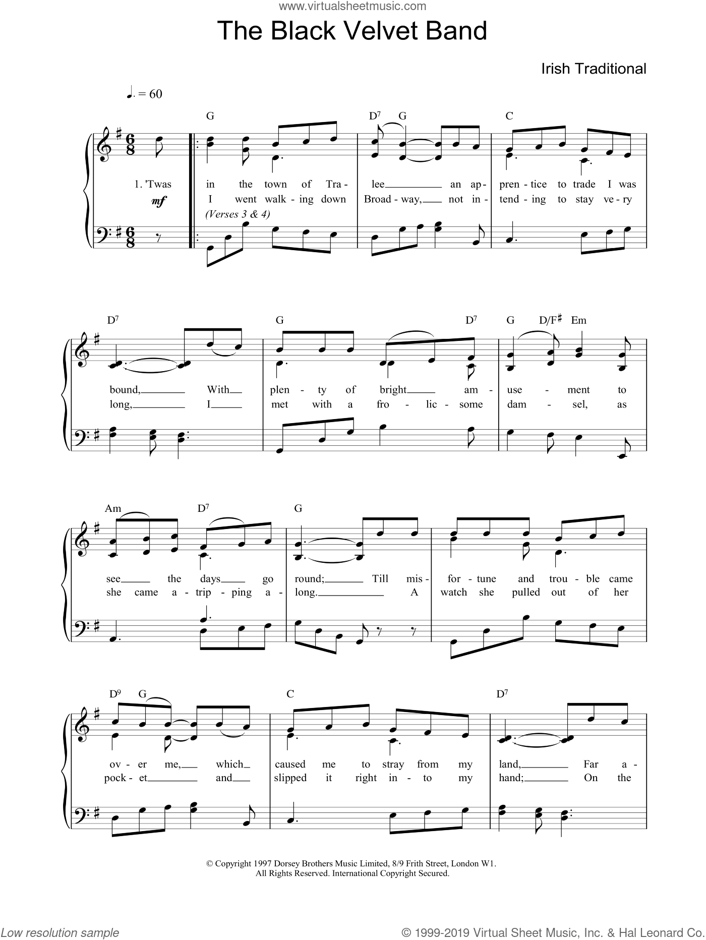 The Black Velvet Band sheet music for piano solo, easy skill level