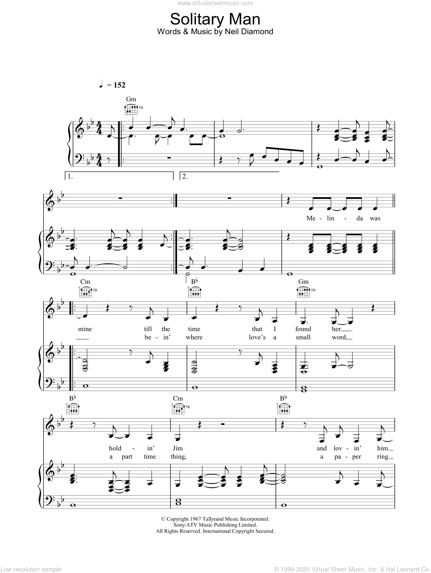 Solitary Man sheet music for voice, piano or guitar by Johnny Cash, intermediate skill level