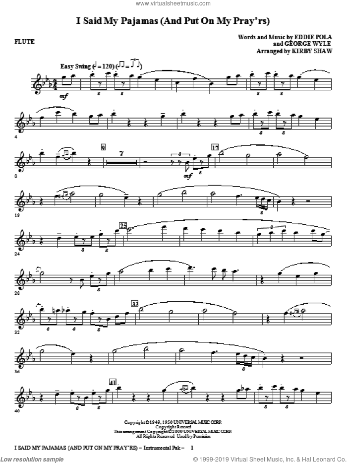 I Said My Pajamas (And Put On My Pray'rs) (complete set of parts) sheet music for orchestra/band (Strings) by George Wyle, Eddie Pola and Kirby Shaw, intermediate skill level