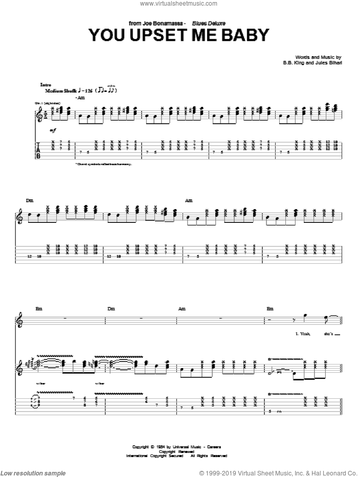 You Upset Me Baby sheet music for guitar (tablature) by Jules Bihari, Joe Bonamassa and B.B. King. Score Image Preview.