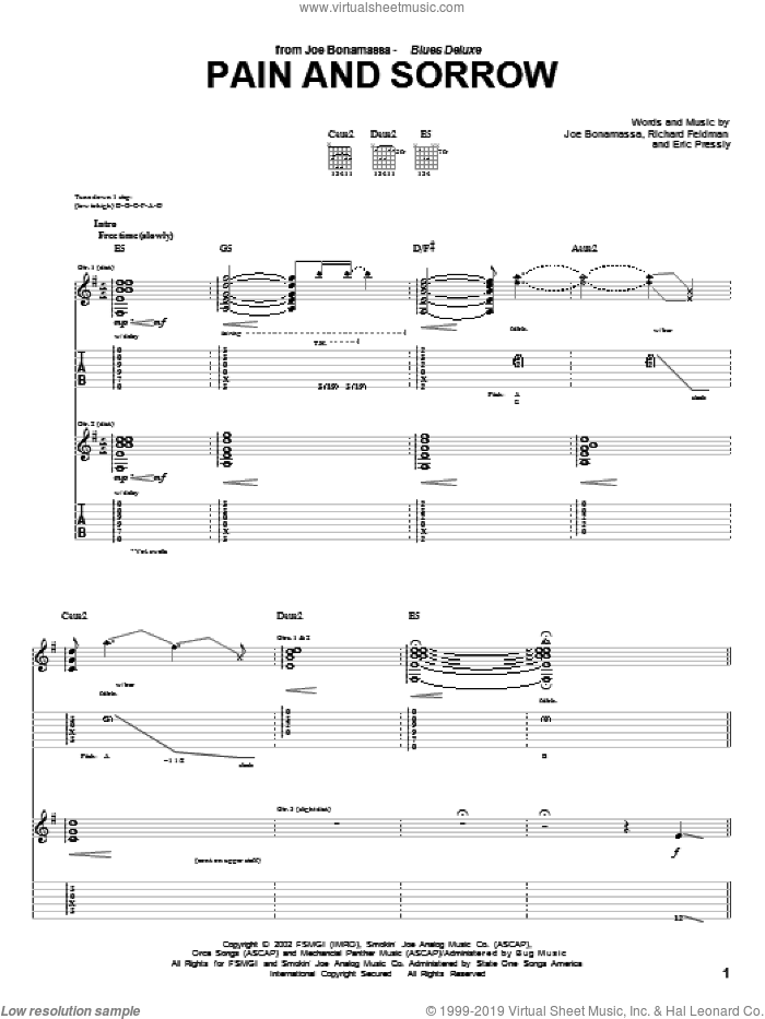 Pain And Sorrow sheet music for guitar (tablature) by Richard Feldman