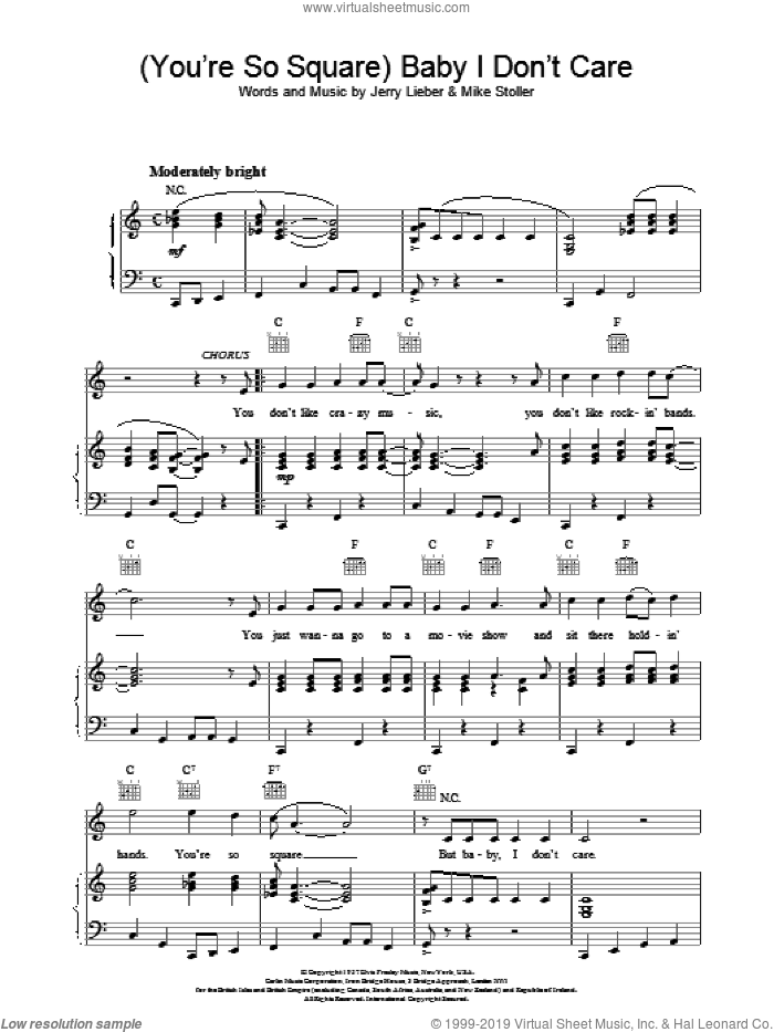 Baby I Don't Care sheet music for voice, piano or guitar by Elvis Presley. Score Image Preview.