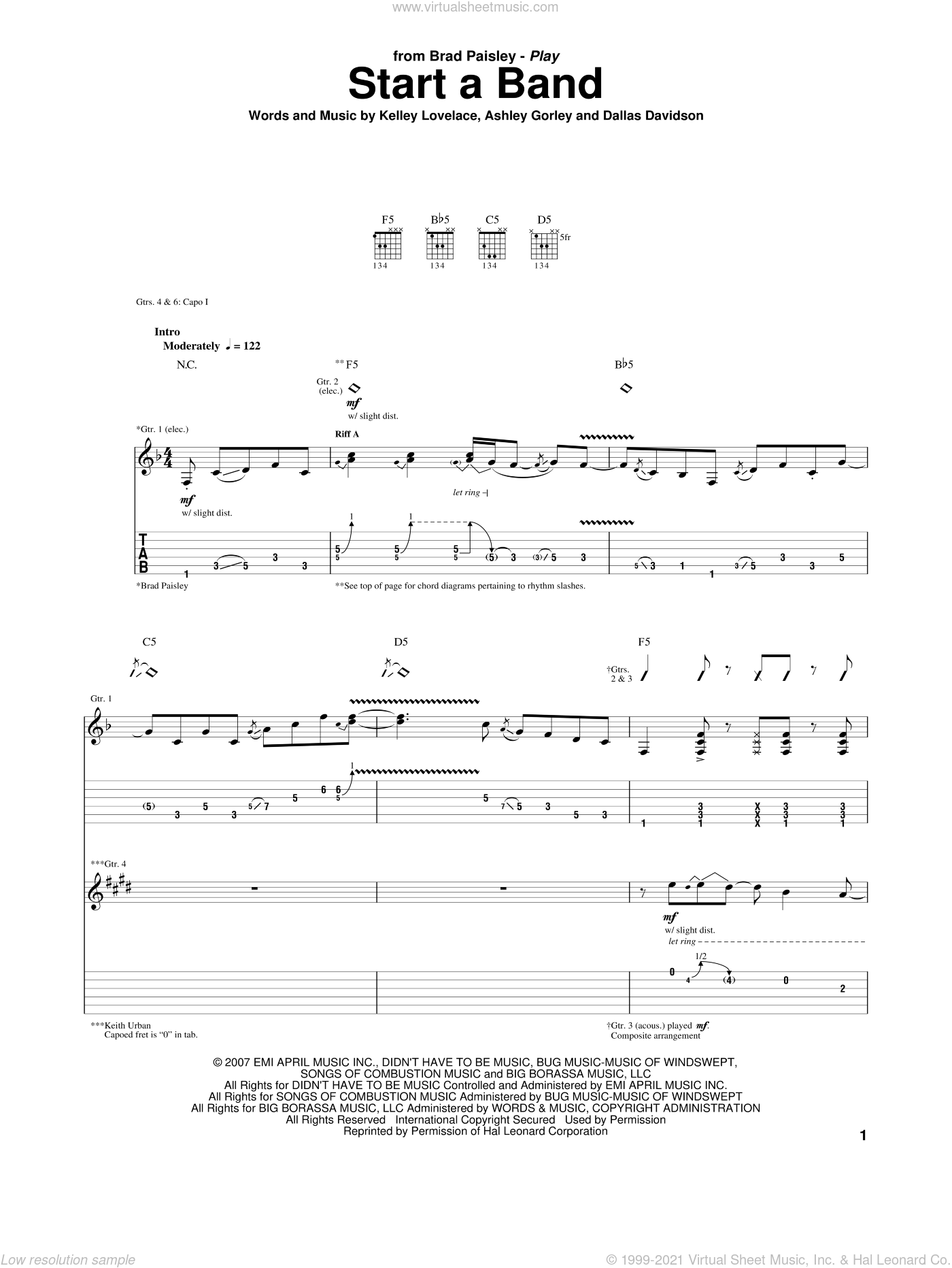 Start A Band sheet music for guitar (tablature) by Brad Paisley, Keith Urban, Ashley Gorley, Dallas Davidson and Kelley Lovelace