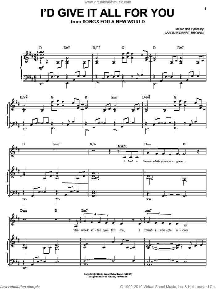I'd Give It All For You sheet music for voice and piano by Jason Robert Brown, intermediate voice. Score Image Preview.