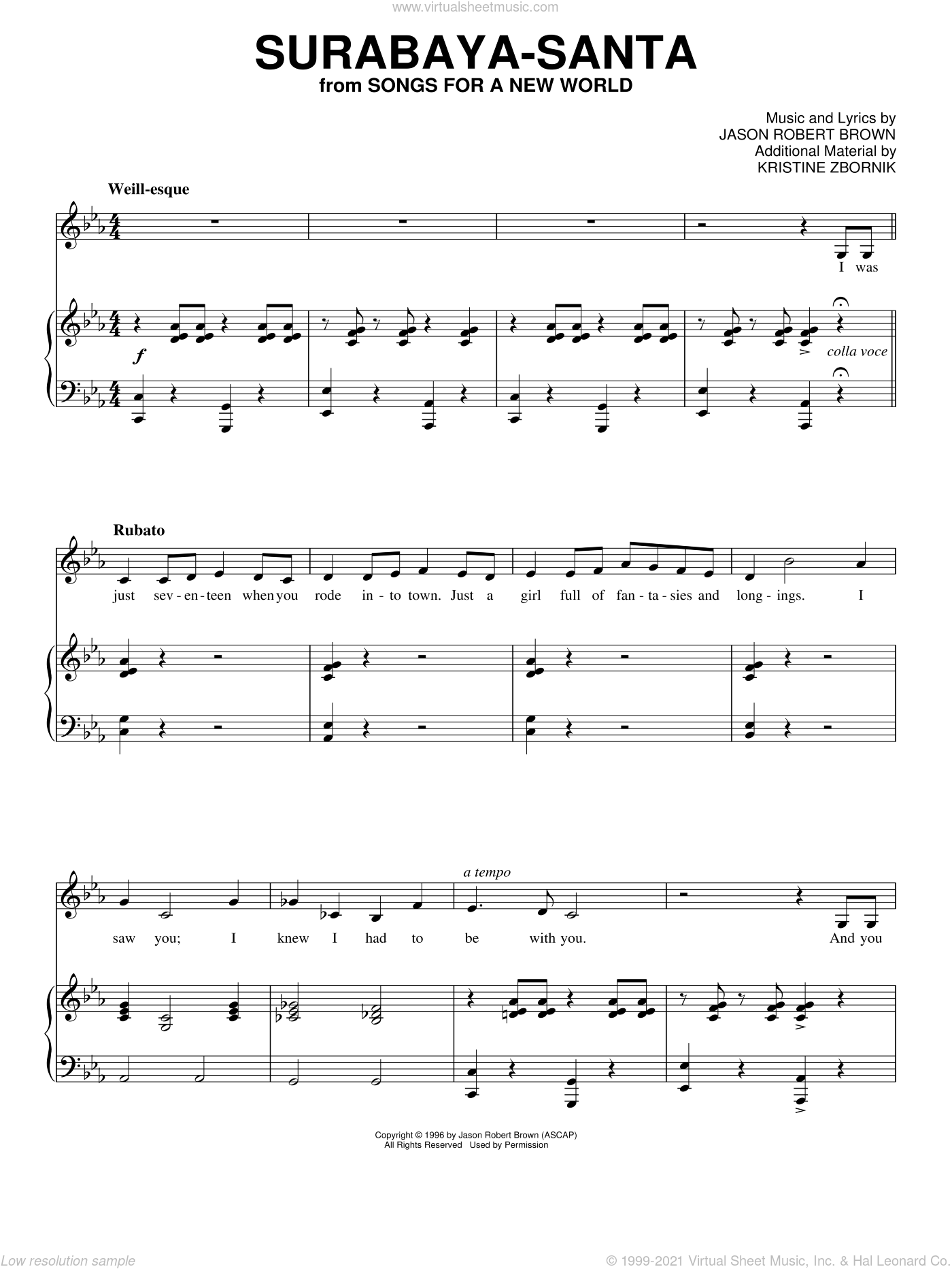 Surabaya-Santa sheet music for voice and piano by Jason Robert Brown, Songs For A New World (Musical) and Kristine Zbornik, intermediate skill level