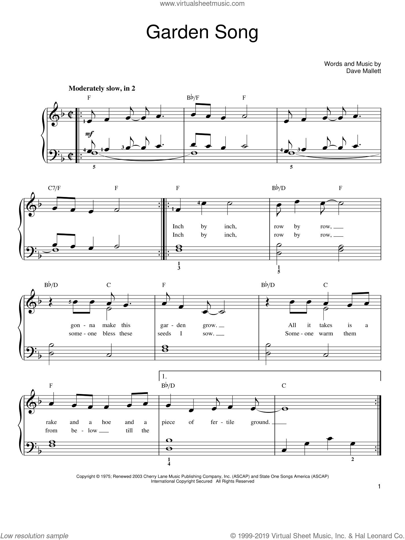 Denver Garden Song Sheet Music For Piano Solo Pdf Interactive
