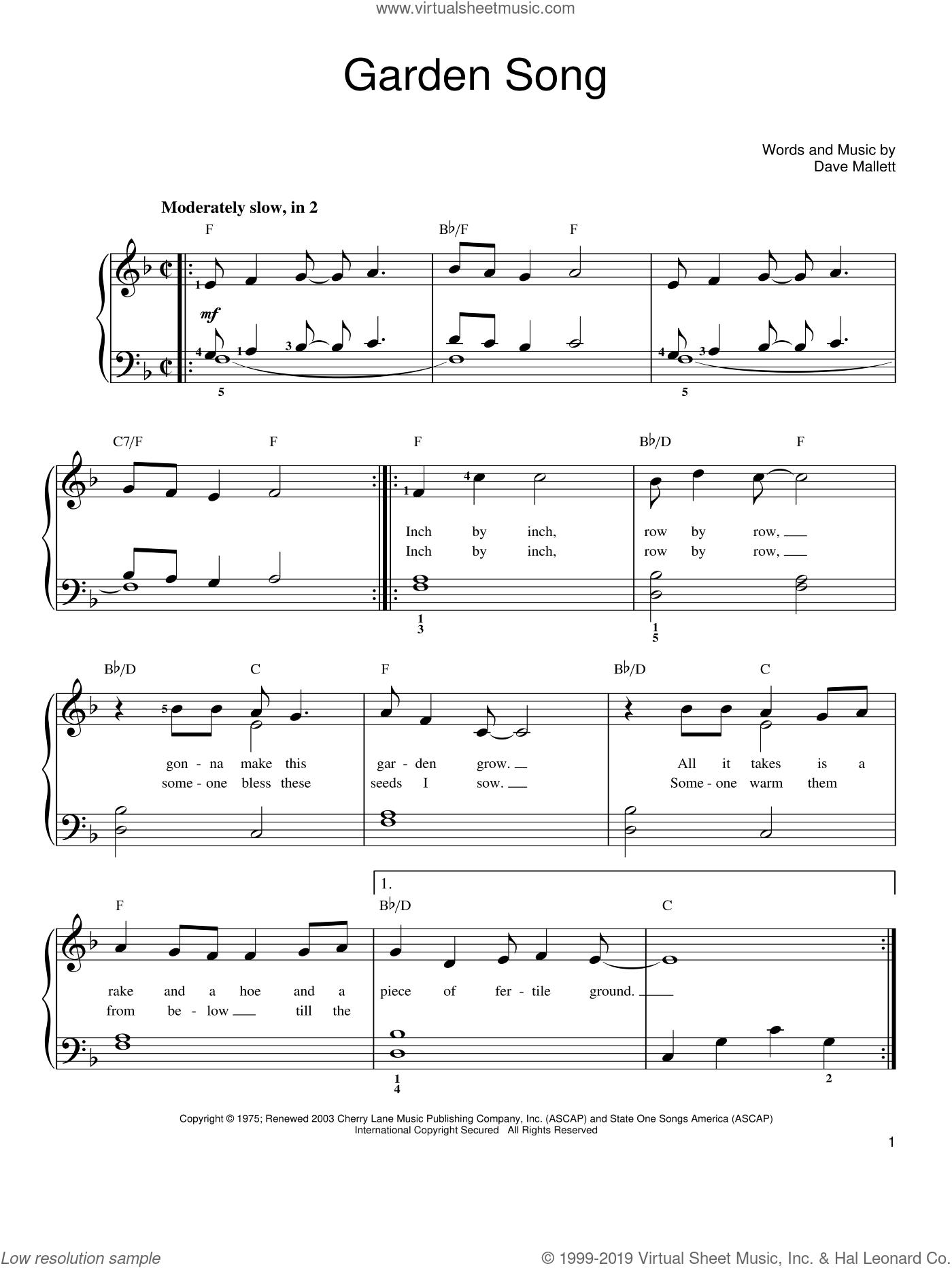 Garden Song sheet music for piano solo by John Denver and Dave Mallett, easy skill level