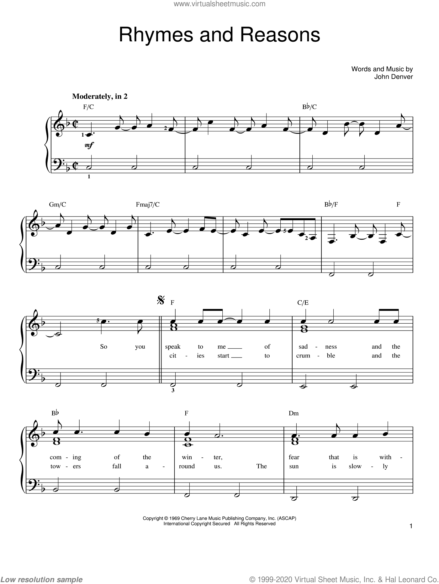 Rhymes And Reasons sheet music for piano solo by John Denver, easy skill level