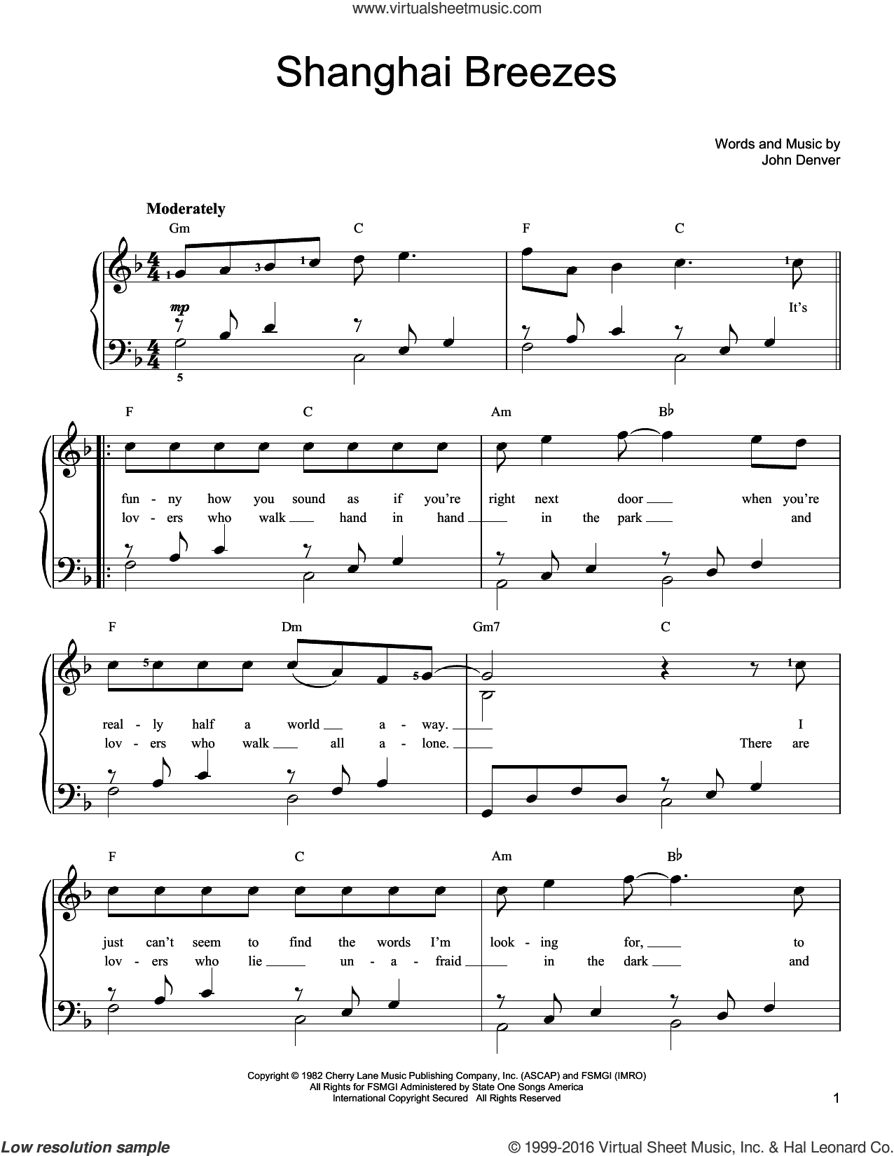 Shanghai Breezes sheet music for piano solo by John Denver, easy skill level