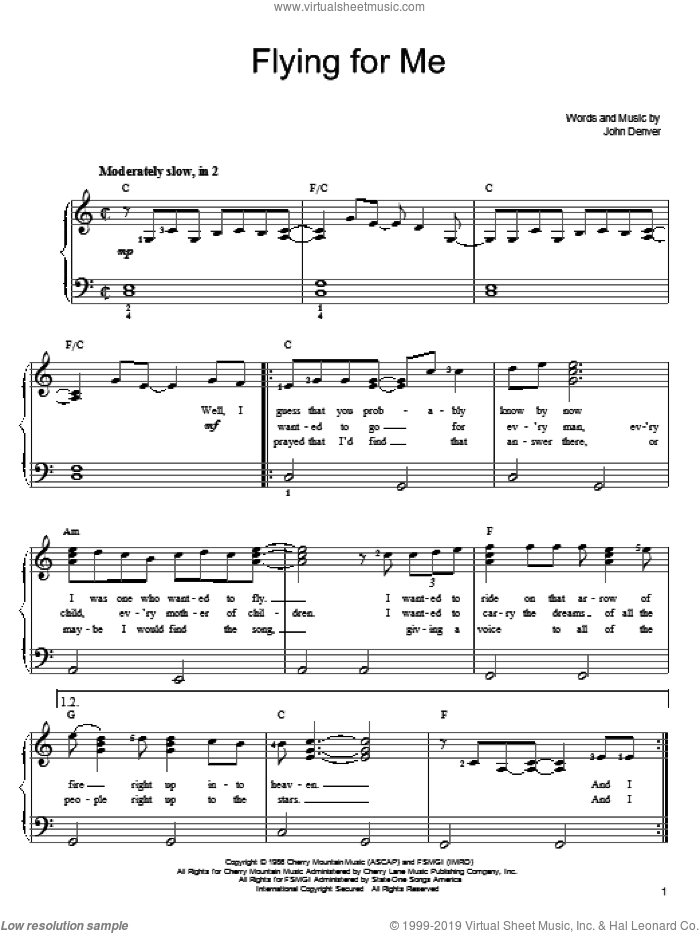 Flying For Me sheet music for piano solo by John Denver. Score Image Preview.