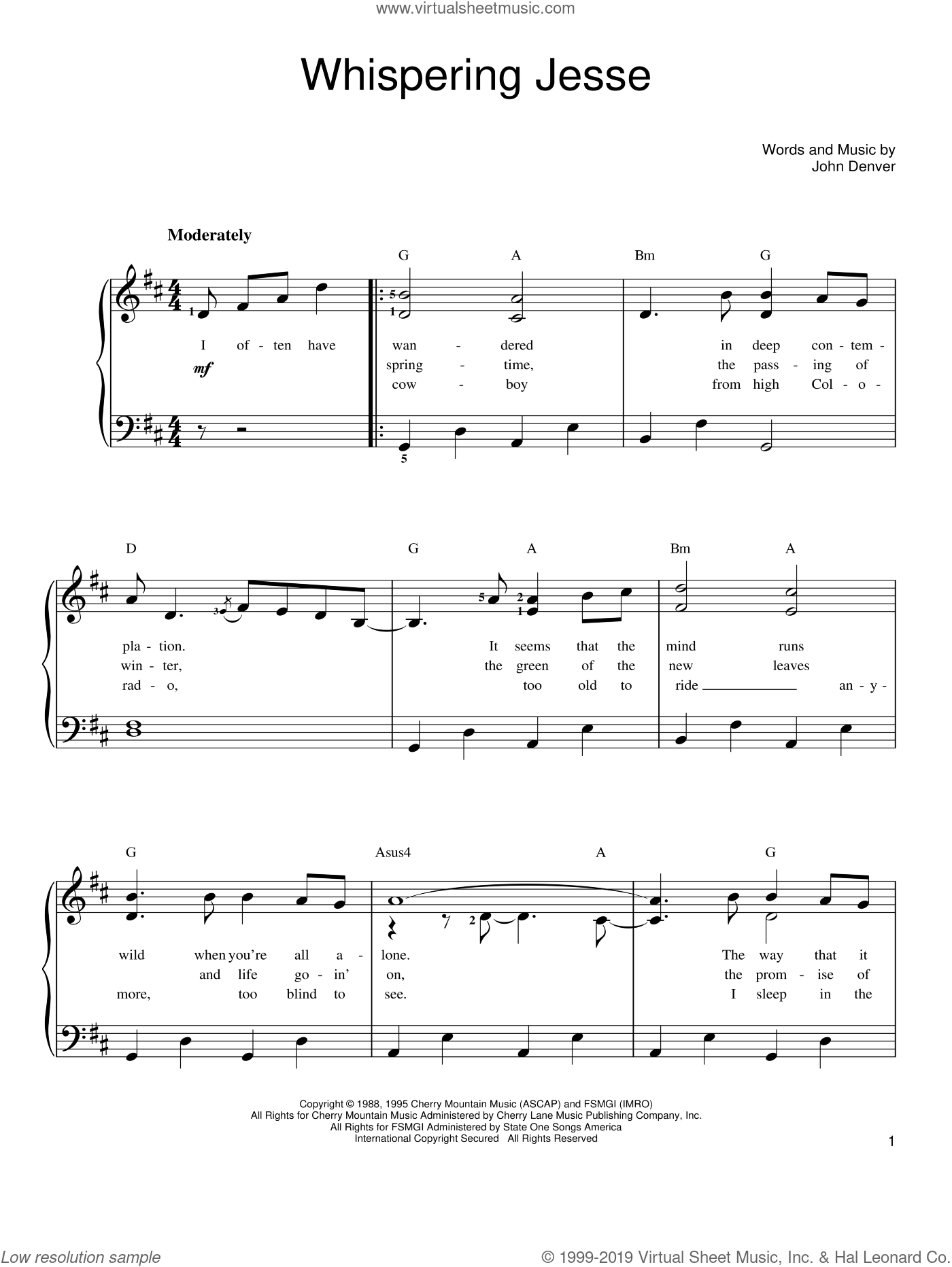 Whispering Jesse sheet music for piano solo by John Denver, easy