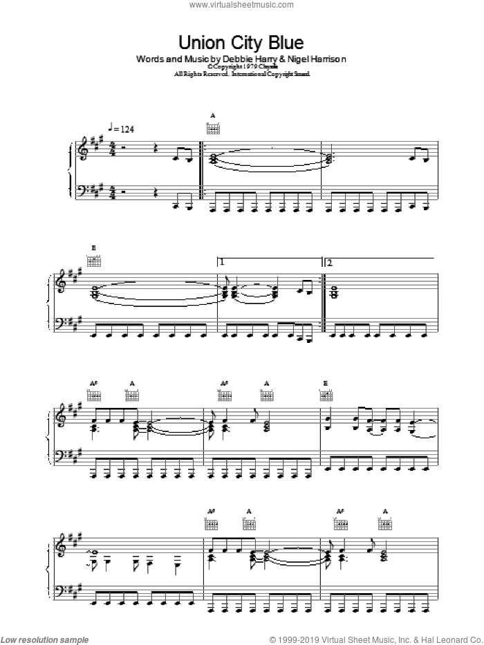 Union City Blue sheet music for voice, piano or guitar by Blondie, intermediate skill level