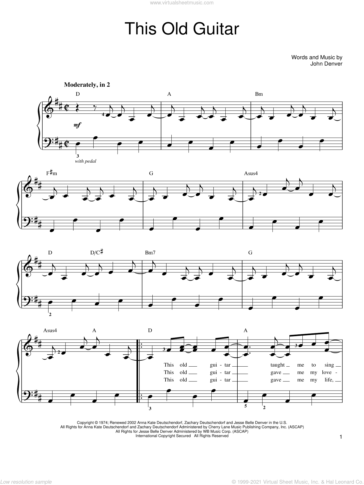 This Old Guitar sheet music for piano solo by John Denver, easy skill level
