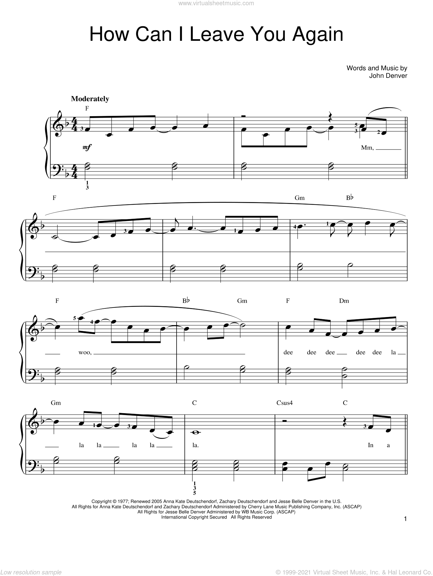 How Can I Leave You Again sheet music for piano solo by John Denver, easy skill level