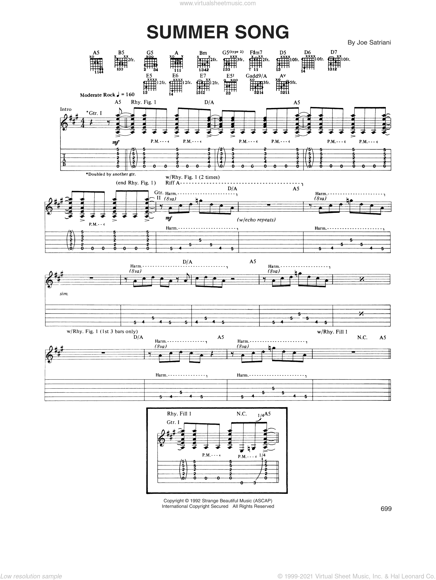 Summer Song sheet music for guitar (tablature) by Joe Satriani. Score Image Preview.