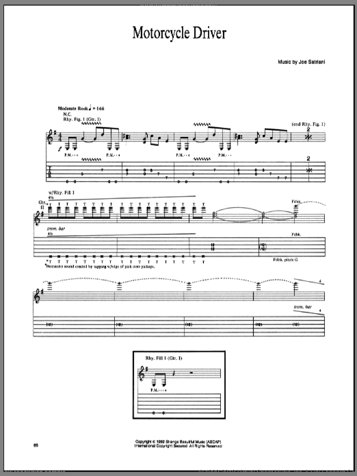 Motorcycle Driver sheet music for guitar (tablature) by Joe Satriani, intermediate guitar (tablature). Score Image Preview.