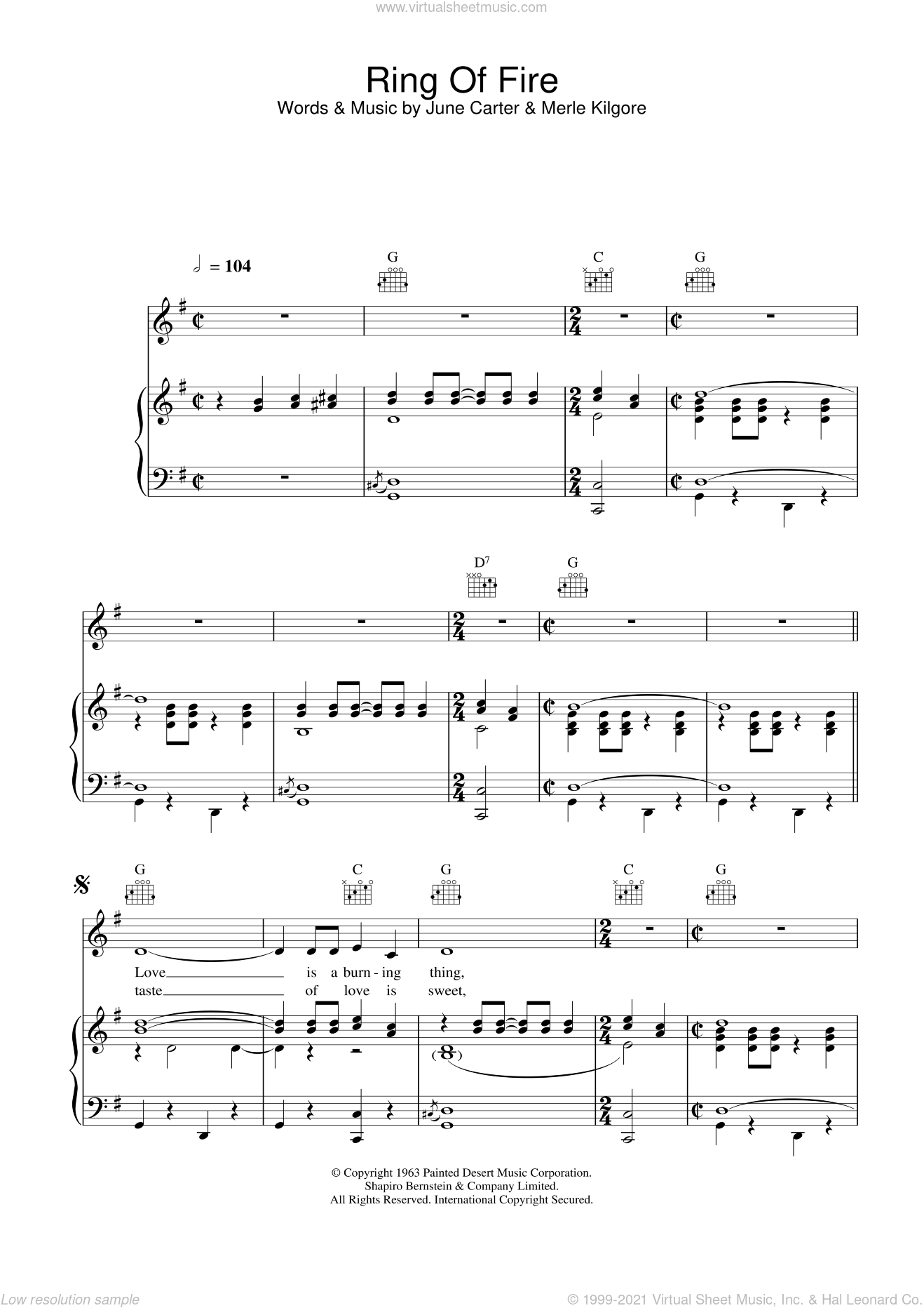 Ring Of Fire sheet music for voice, piano or guitar by Johnny Cash, intermediate skill level