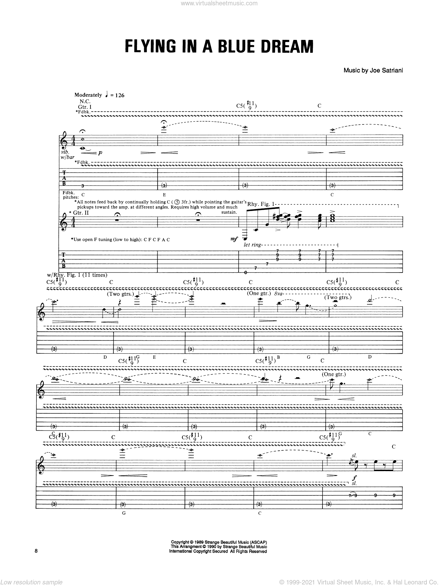 Flying In A Blue Dream sheet music for guitar (tablature) by Joe Satriani. Score Image Preview.