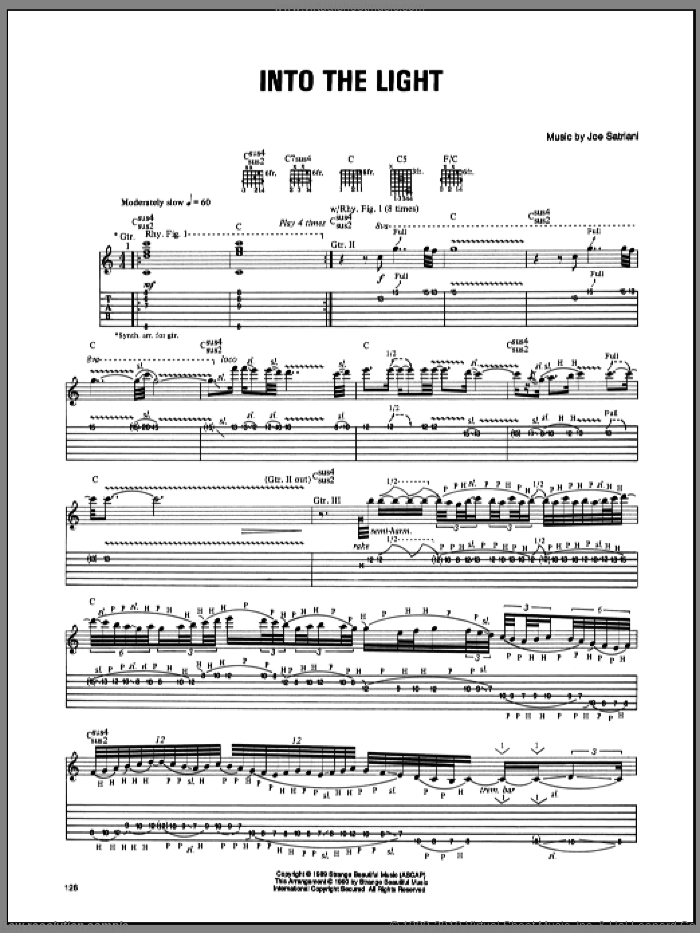 Into The Light sheet music for guitar (tablature) by Joe Satriani. Score Image Preview.