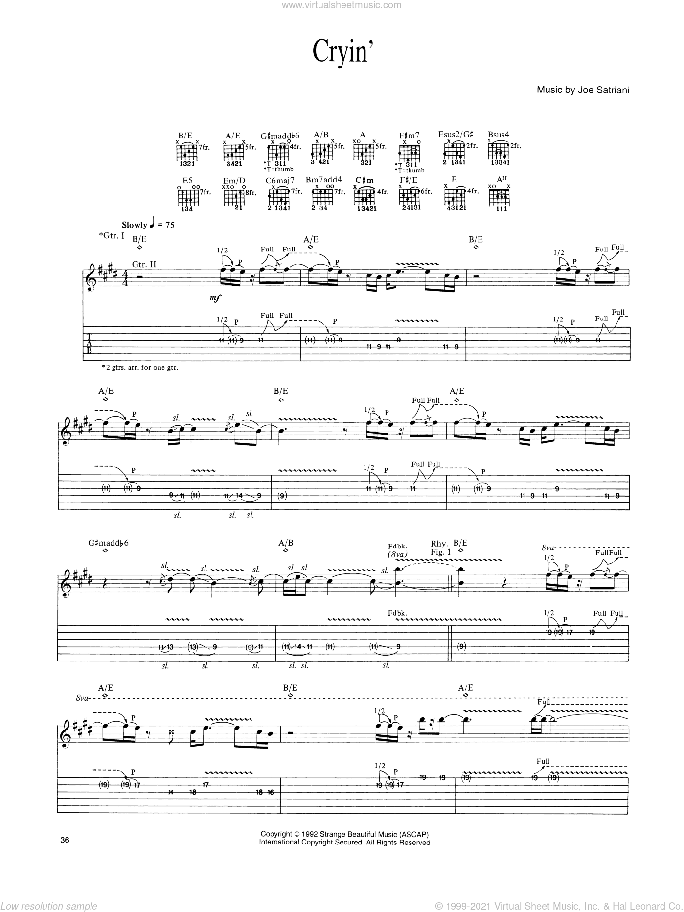 Cryin' sheet music for guitar (tablature) by Joe Satriani. Score Image Preview.