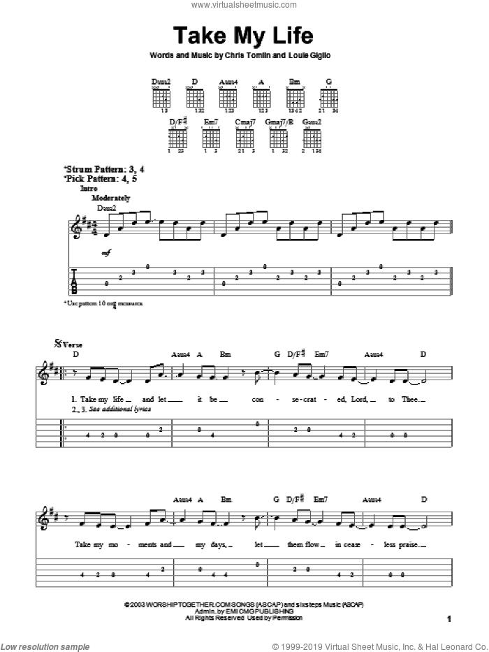 Take My Life sheet music for guitar solo (easy tablature) by Chris Tomlin. Score Image Preview.