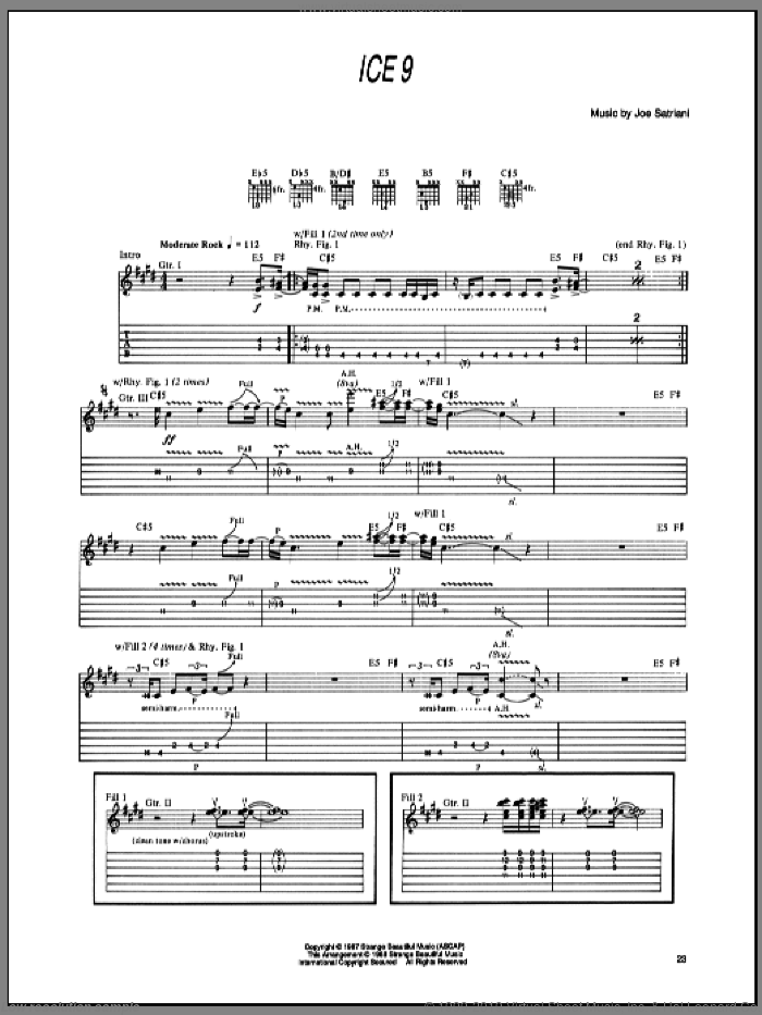 Ice 9 sheet music for guitar (tablature) by Joe Satriani. Score Image Preview.