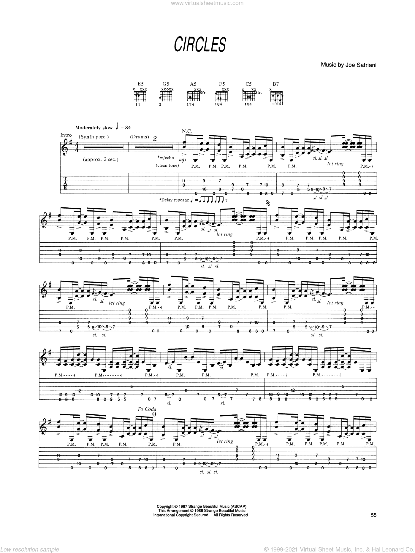 Circles sheet music for guitar (tablature) by Joe Satriani. Score Image Preview.