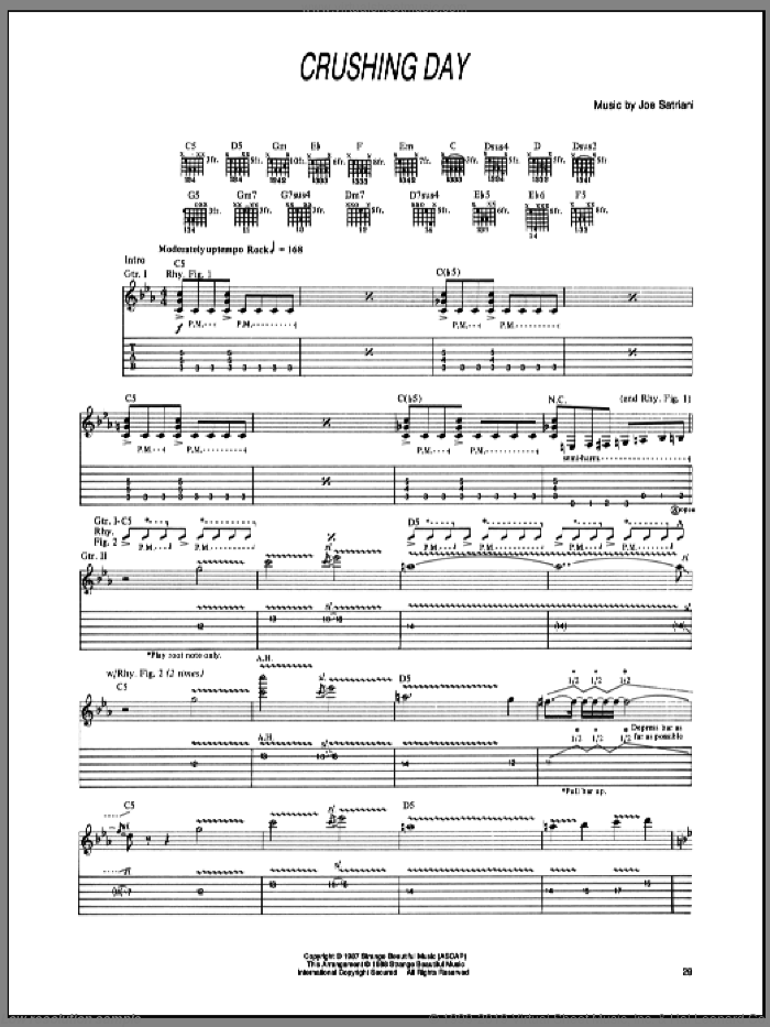 Crushing Day sheet music for guitar (tablature) by Joe Satriani. Score Image Preview.