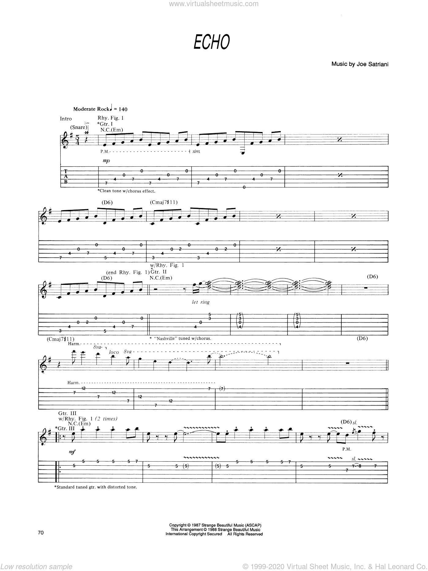 Echo sheet music for guitar (tablature) by Joe Satriani. Score Image Preview.