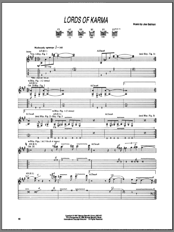 Lords Of Karma sheet music for guitar (tablature) by Joe Satriani, intermediate guitar (tablature). Score Image Preview.