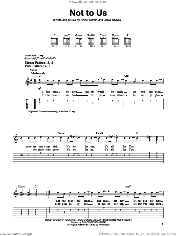 Not To Us sheet music for guitar solo (easy tablature) by Chris Tomlin and Jesse Reeves, easy guitar (easy tablature)