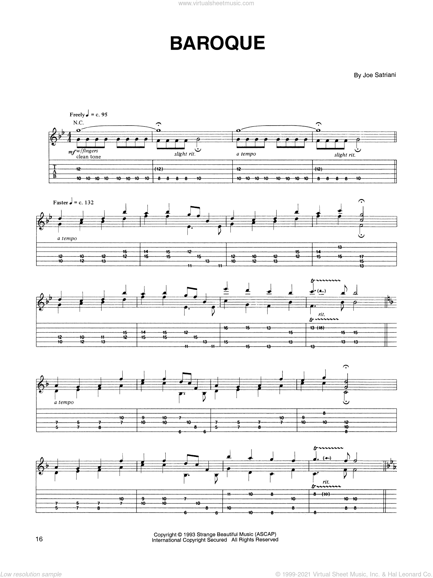 Baroque sheet music for guitar (tablature) by Joe Satriani. Score Image Preview.