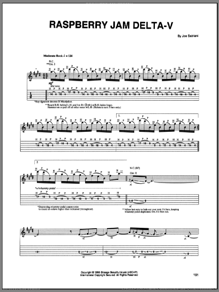 Raspberry Jam Delta-V sheet music for guitar (tablature) by Joe Satriani, intermediate. Score Image Preview.