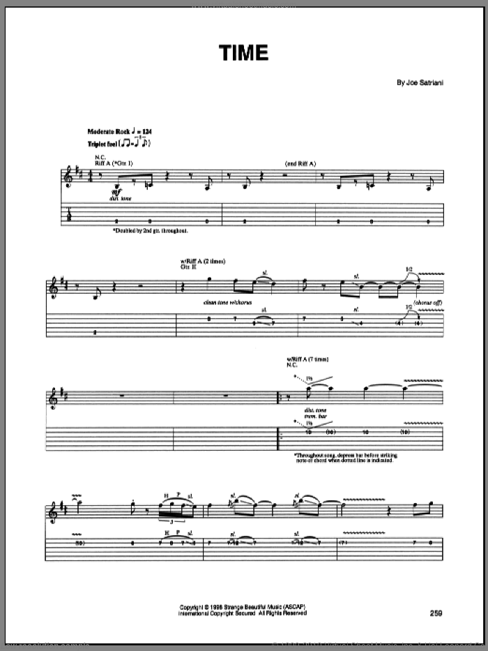 Time sheet music for guitar (tablature) by Joe Satriani. Score Image Preview.