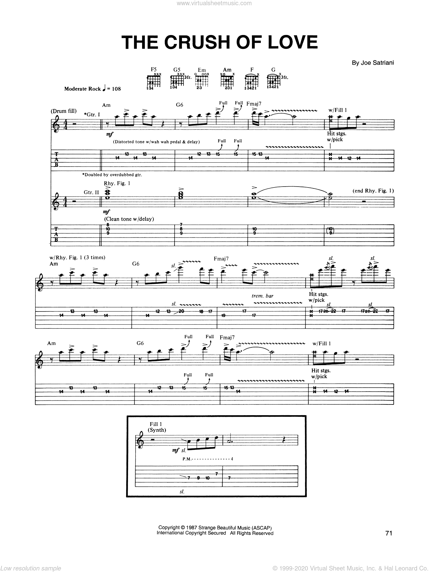 The Crush Of Love sheet music for guitar (tablature) by Joe Satriani. Score Image Preview.
