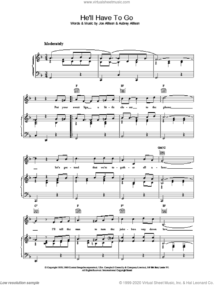 He'll Have To Go sheet music for voice, piano or guitar by Jim Reeves, Audrey Allison and Joe Allison, intermediate skill level