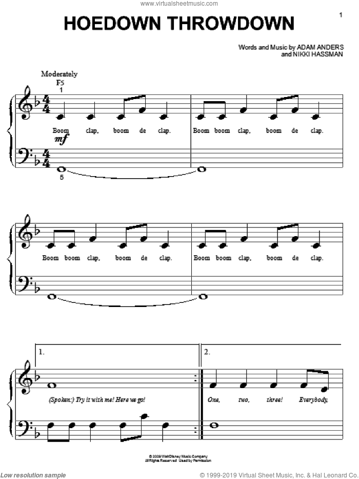 Hoedown Throwdown sheet music for piano solo (big note book) by Miley Cyrus, Hannah Montana and Nikki Hassman. Score Image Preview.