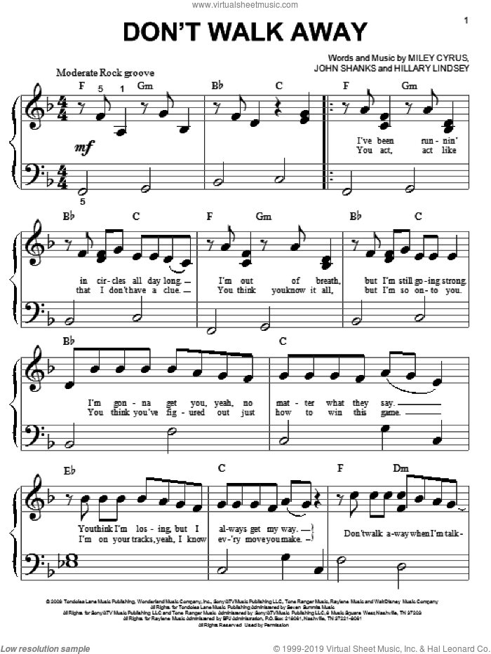 Don't Walk Away sheet music for piano solo (big note book) by Miley Cyrus, Hannah Montana, Hannah Montana (Movie), Hillary Lindsey and John Shanks, easy piano (big note book)