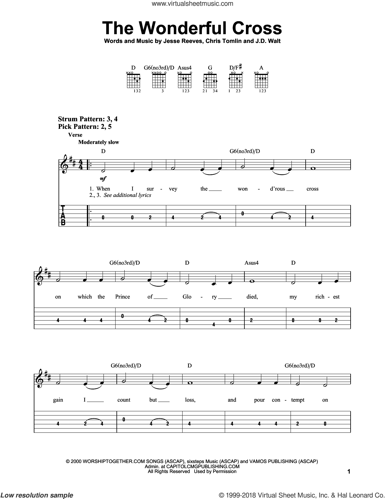 The Wonderful Cross sheet music for guitar solo (easy tablature) by Chris Tomlin, Phillips, Craig & Dean, J.D. Walt and Jesse Reeves, easy guitar (easy tablature)