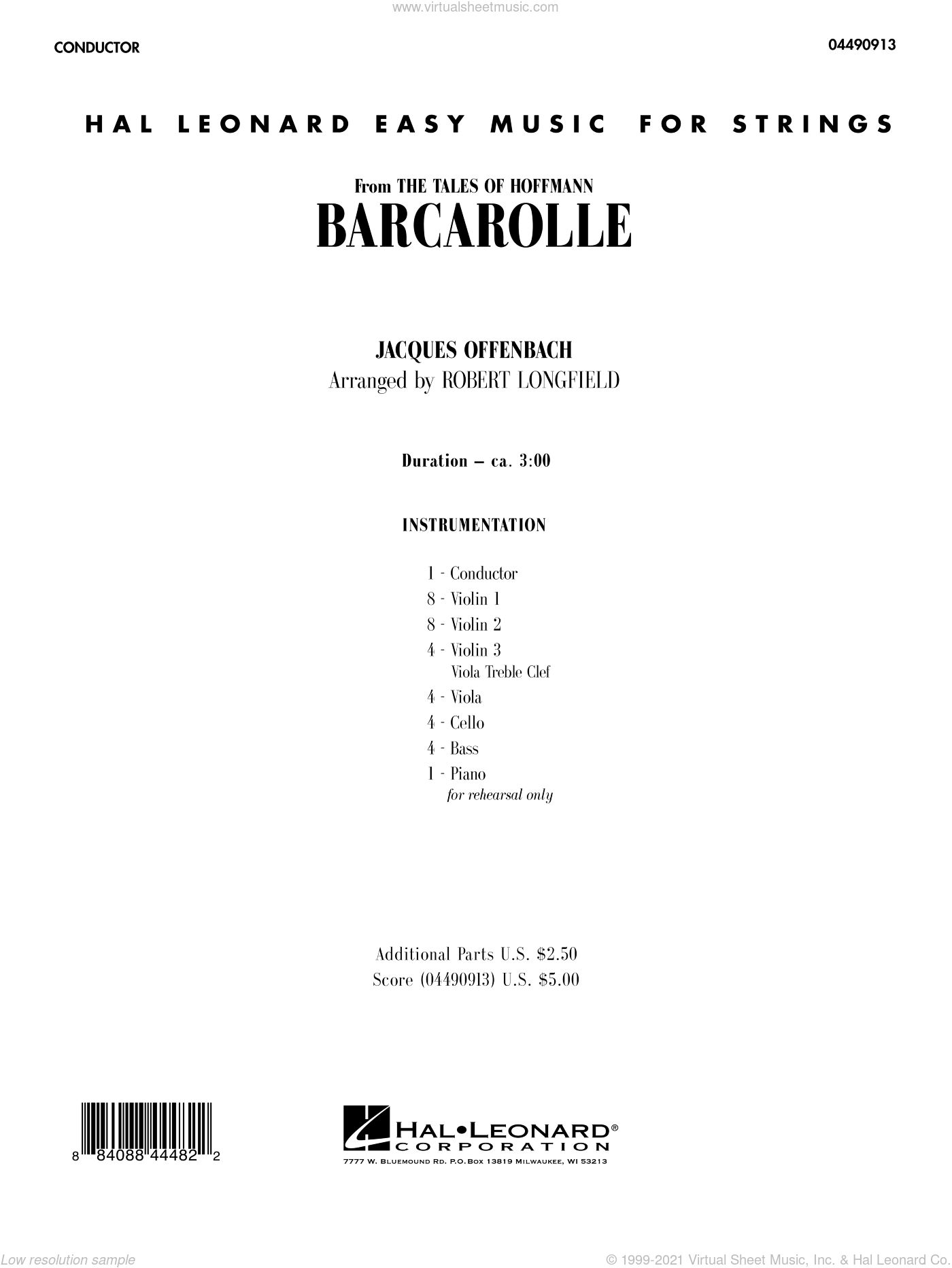 Barcarolle sheet music for orchestra (full score) by Jacques Offenbach