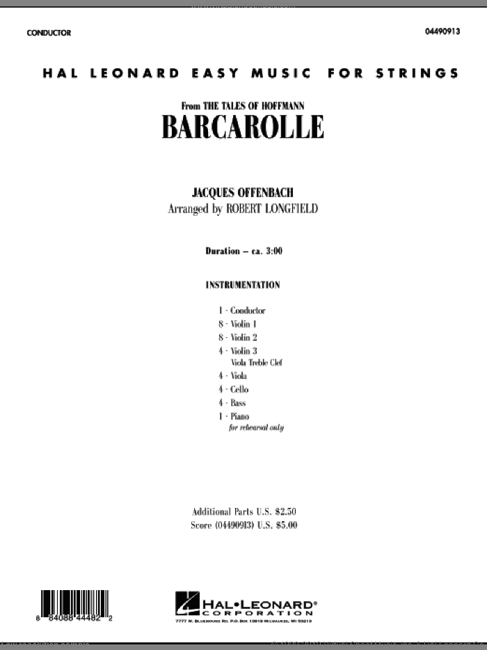 Barcarolle (COMPLETE) sheet music for orchestra by Jacques Offenbach and Robert Longfield, classical score, intermediate. Score Image Preview.