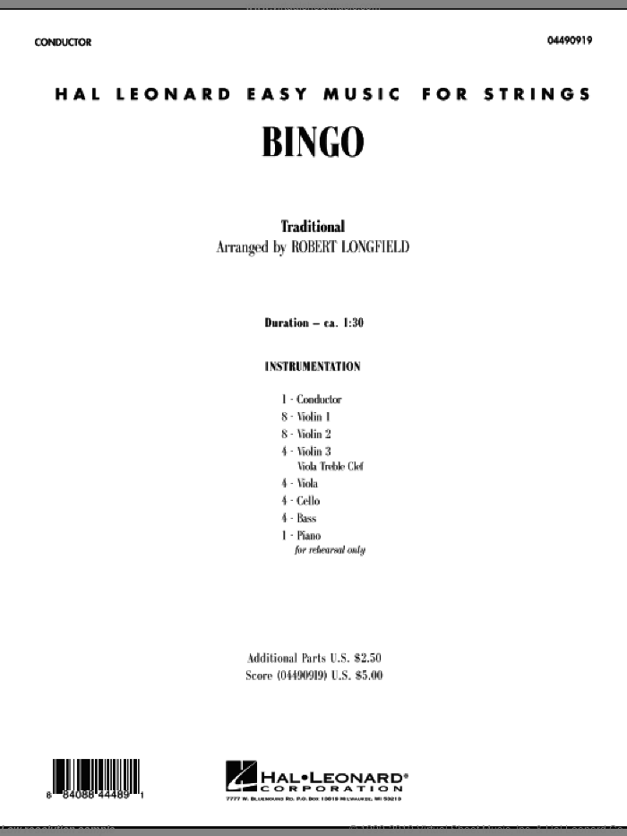 Bingo (COMPLETE) sheet music for orchestra by Robert Longfield and Miscellaneous, intermediate skill level