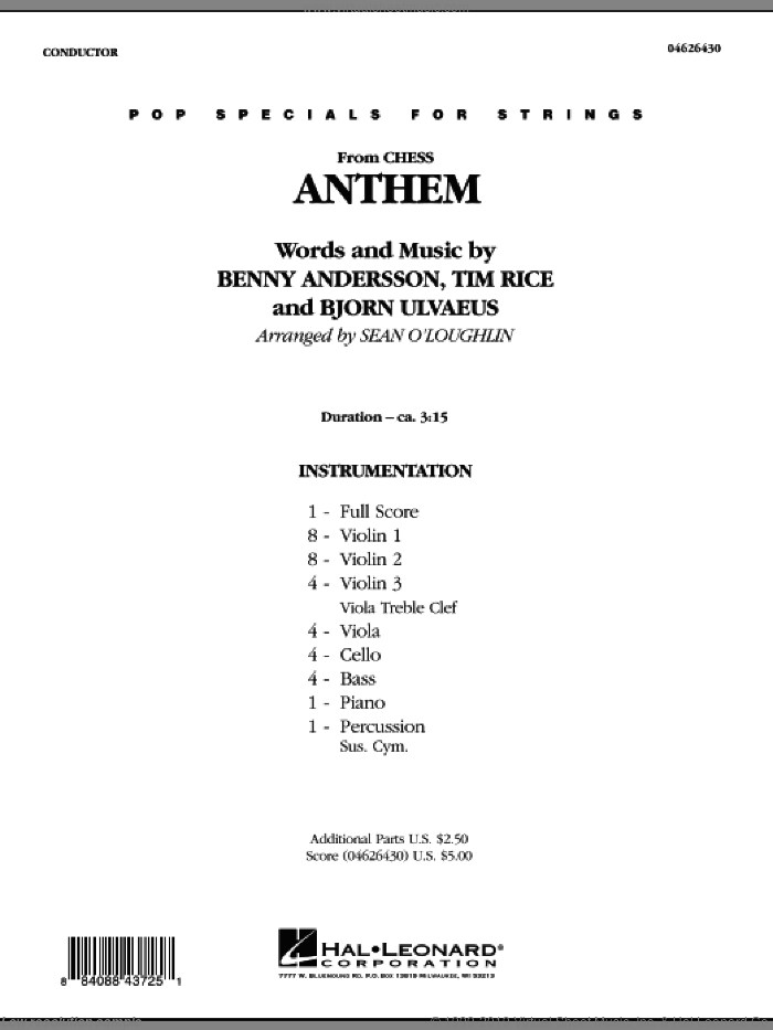 Anthem (from 'Chess') (COMPLETE) sheet music for orchestra by Tim Rice, Benny Andersson, Bjorn Ulvaeus, Josh Groban and Miscellaneous, intermediate skill level